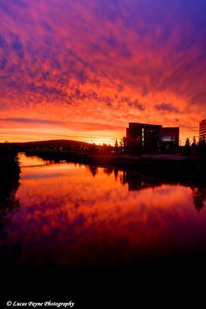 Sunrise over the Chena River in downtown Fairbanks, Alaska. <br /> September 07, 2010