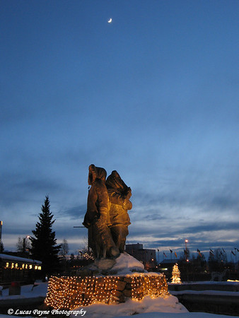 Alaskan Native Statue In Fairbanks, Alaska