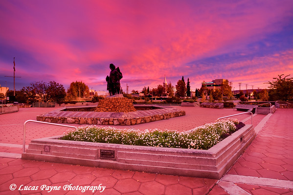 Alaskan Native statue at sunrise in downtown Fairbanks, Alaska.<br /> September 07, 2010