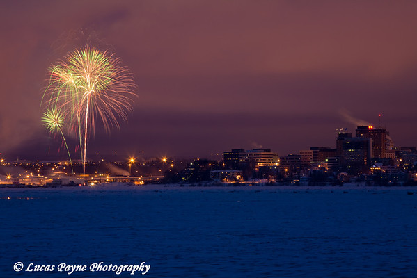 Fur Rondy Fireworks 2009<br /> Anchorage, Alaska <br /> February 28, 2009