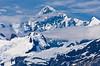Glacier Bay and its snow covered Mount Salisbury in Glacier Bay National Park, Alaska, USA, America.