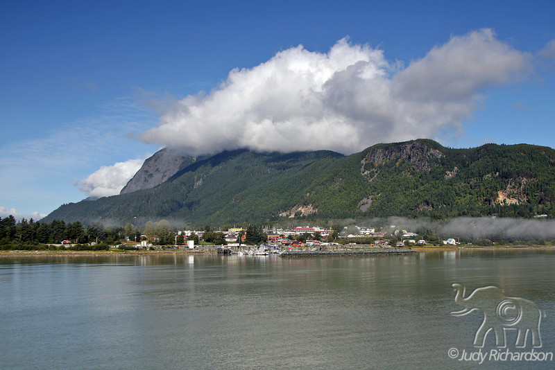 Fog lifting on our arrival in Haines, Alaska