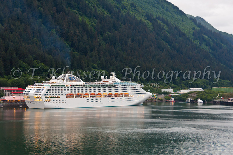 The Dawn Princess cruise ship in the port of call at Juneau, Alaska, USA, America.