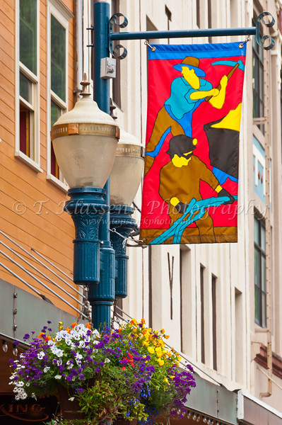 Banners and flags on the streets of Juneau, Alaska, USA, America.