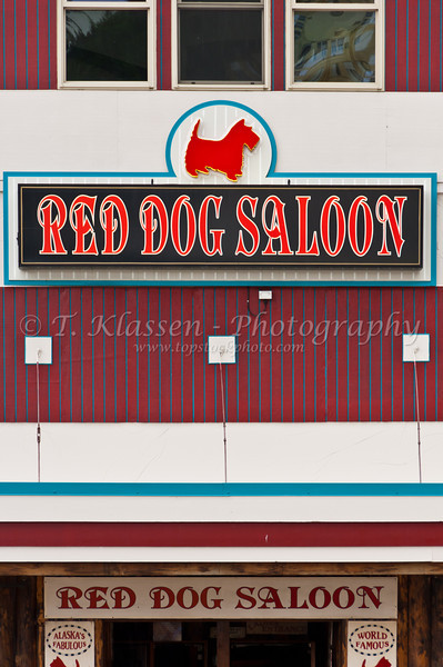 The Red Dog Saloon exterior sign in Juneau, Alaska, USA, America.