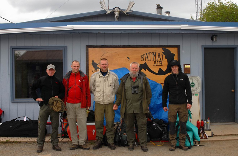 The Dutch trekking crew in the town of King Salmon preparing for our expedition.