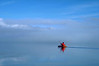 Out of the fog on Naknek Lake. Crossing the Iliuk Arm on a kayaking and climbing trip from King Salmon, near the Bering Sea, to the summit of Mt. Katmai on the Gulf of Alaska.