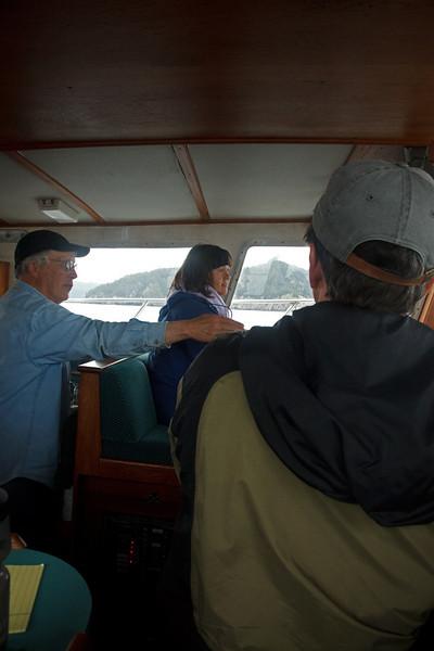Julie drives our boat