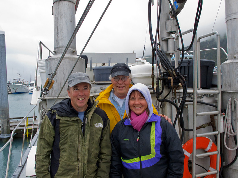 Ron, Capt. Mike and Julie enjoying the beautiful summer weather in Alaska.