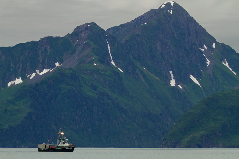 Fishing boat on Aialik Bay, Kenai Fjords National Park, Alaska