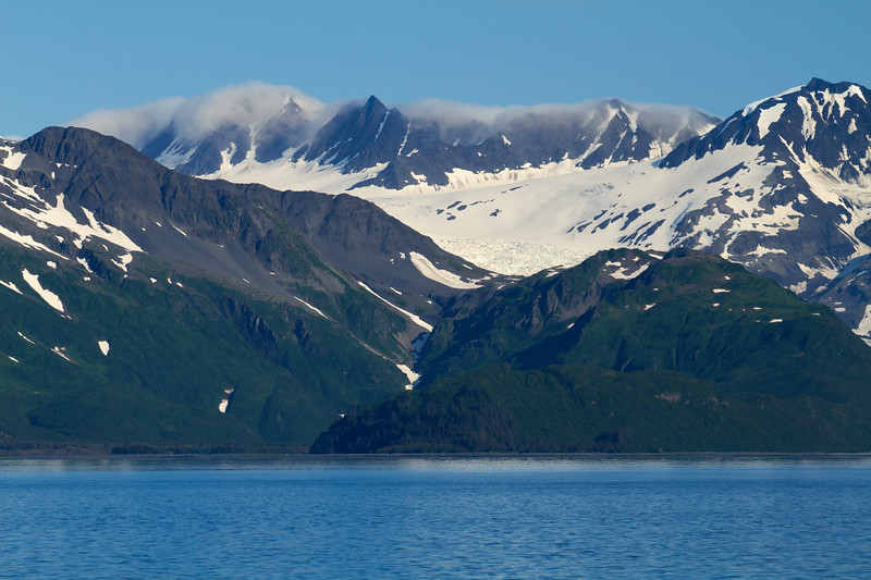 Mountain peaks in clouds, Aialik Bay, Kenai Fjords National Park, Alaska