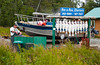 A fishing charter company display of hanging fish in Ninilichik, Alaska, USA, America.