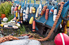 A fishing boat laden with ropes, floats and other fishing paraphenalia on the Kenai peninsula in Homer, Alaska, USA, America.