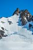 Lone mountaineer decending Mt. Eva
