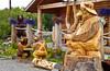 A roadside shop selling chain saw sculptured figures in the Kenai, peninsula, Alaska, usa, America.