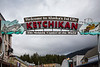 The famous overhead street sign in Ketchikan, Alaska, USA.