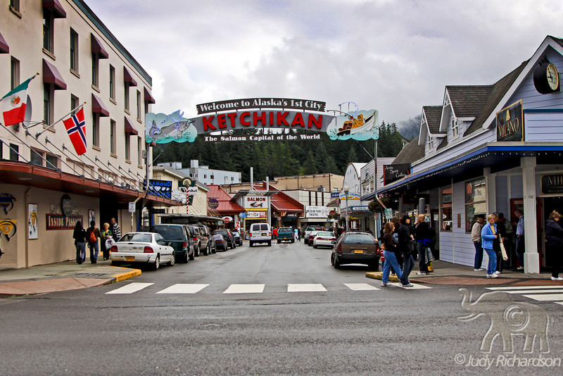 Ketchikan town sign ~ Usually the first port visited by cruise ships going north bound