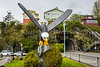 A bald eagle and park in the city of Ketchikan, Alaska, USA.
