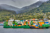 A container ship in the port at Ketchikan, Alaska, USA.