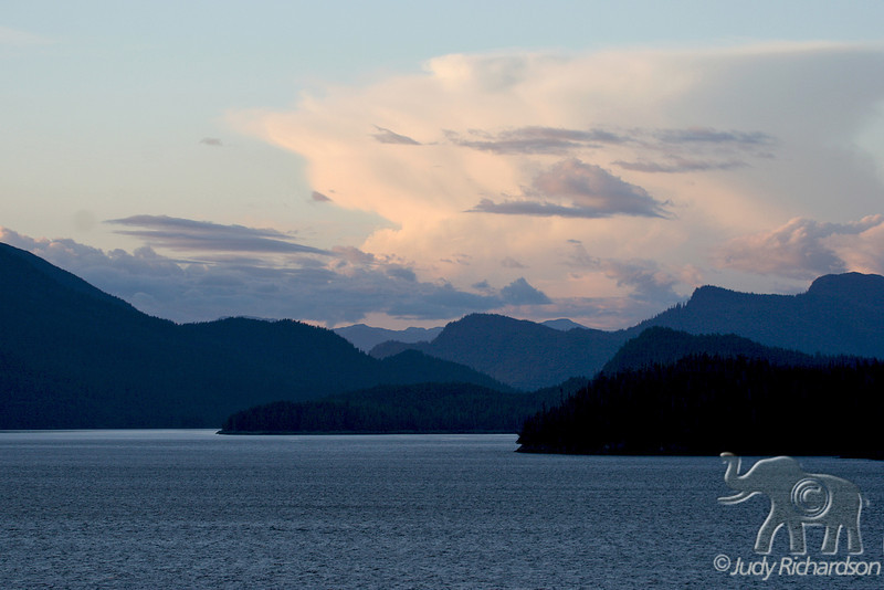 Layers of mountains as we leave Misty Fjords outside of Ketchikan