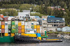 A loaded container ship in Ketchikan, Alaska, USA.