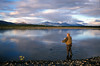 Dry fly fishing on the Kobuk River. Mountains of the Brooks Range on the horizon.