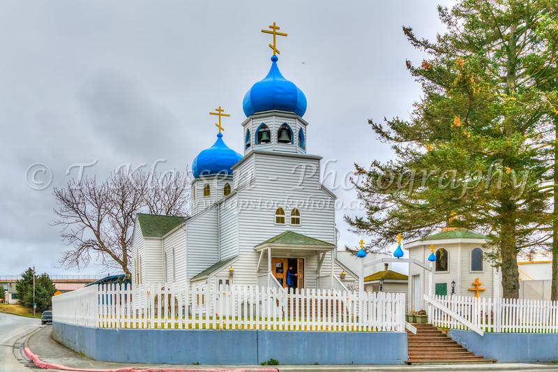 The Holy Resurrection Church, a Russian Orthodox Church exterior in Kodiak, Alaska, USA.