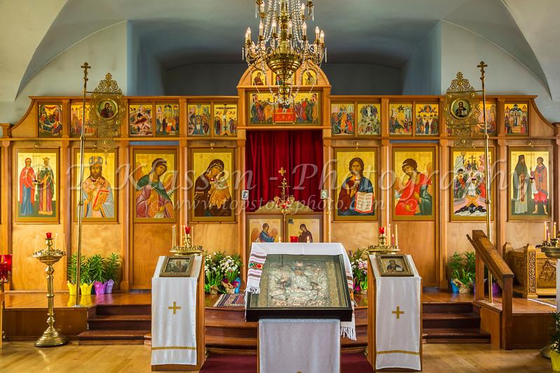 Interior of the Holy Resurrection Russian Orthodox Church in Kodiak, Alaska, USA.
