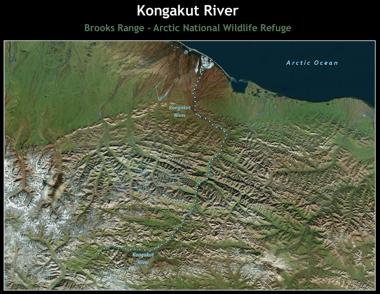 The river flows for nearly 100 miles from its headwaters between the Romanzof and Davidson Mountains of the Eastern Brooks Range to the Arctic Ocean.