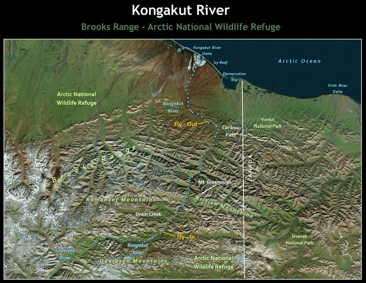 We floated a 50 mile section of the river from a tundra air strip south of Drain Creek  to a river bar downstream of Caribou Pass.