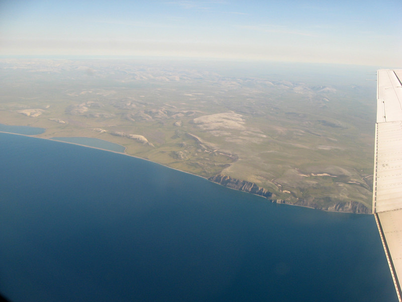 Air view over the Cape Thompson cliffs