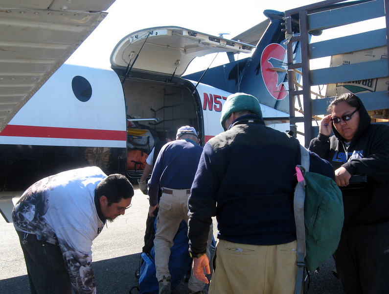 July 9 -- boarding the flight from Pt. Hope to Kotzebue