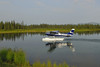 The Cessna 206 from Regal Air departs Chelatna Lake.