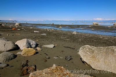 Looking across Cook Inlet with Mt Redoubt on the left and Mt Iliamna on the right