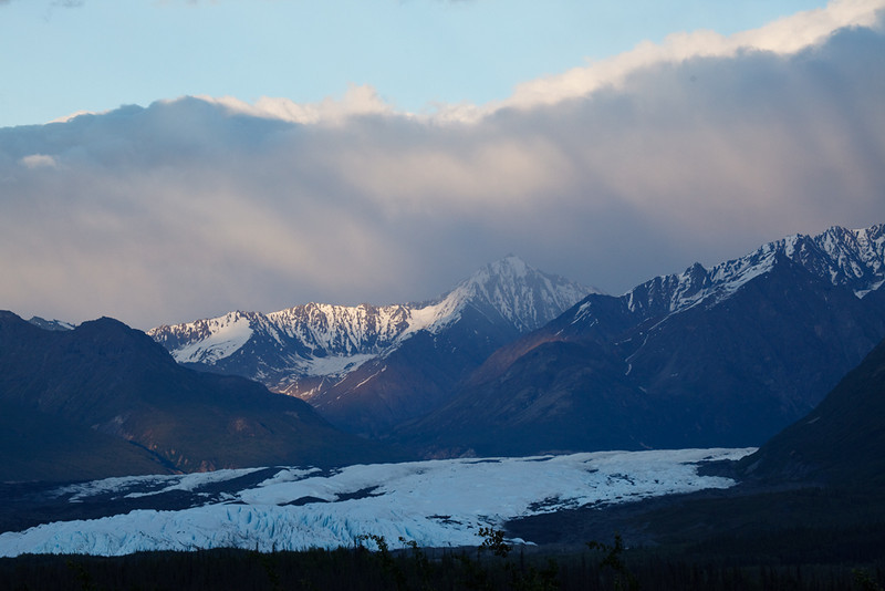 The Matanuska Glacier at sunset.