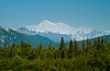 Snow covered Mount McKinley from the south, Alaska, USA, America.
