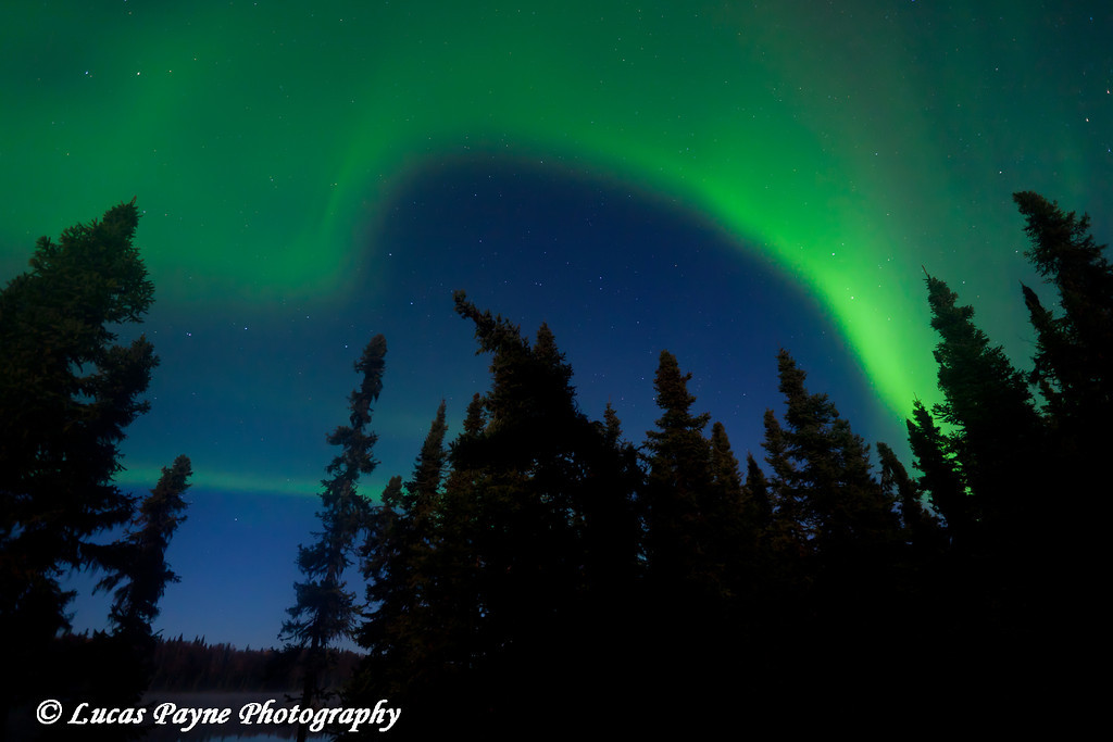 Aurora Borealis (Northern Lights) over South Rolly Lake at Nancy Lake State Recreation Area<br /> October 08, 2011