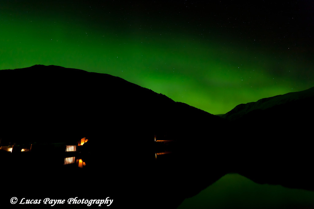 Aurora Borealis (Northern Lights) over Portage Lake and Begich, Boggs Visitor Center in Chugach National Forest<br /> October 04, 2011