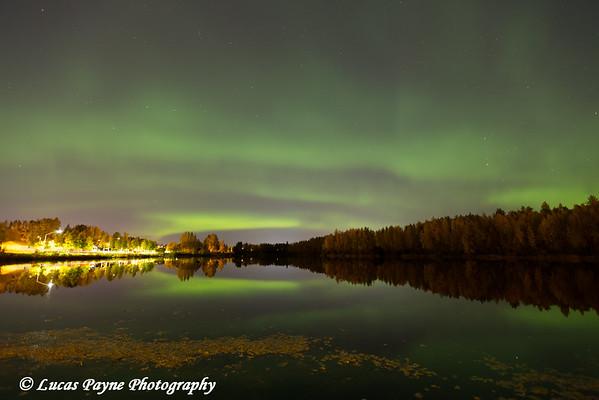 Northern Lights over Cheney Lake in Anchorage, Alaska.<br /> <br /> September 23, 2015