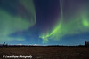View of green Northern Lights dancing in the sky above Mt. McKinley and the Alaska Range as seen from the Petersville Road, Southcentral Alaska<br /> <br /> November 01, 2012
