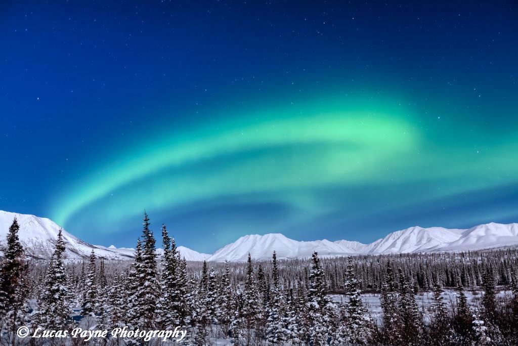 Aurora Borealis (Northern Lights) over the Alaska Range at Broad Pass<br /> February 18, 2011