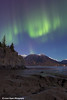 Northern Lights dancing above the Chugach Mountains and mudflats of Turnagain Arm from the Hope Highway<br /> <br /> October 01, 2012
