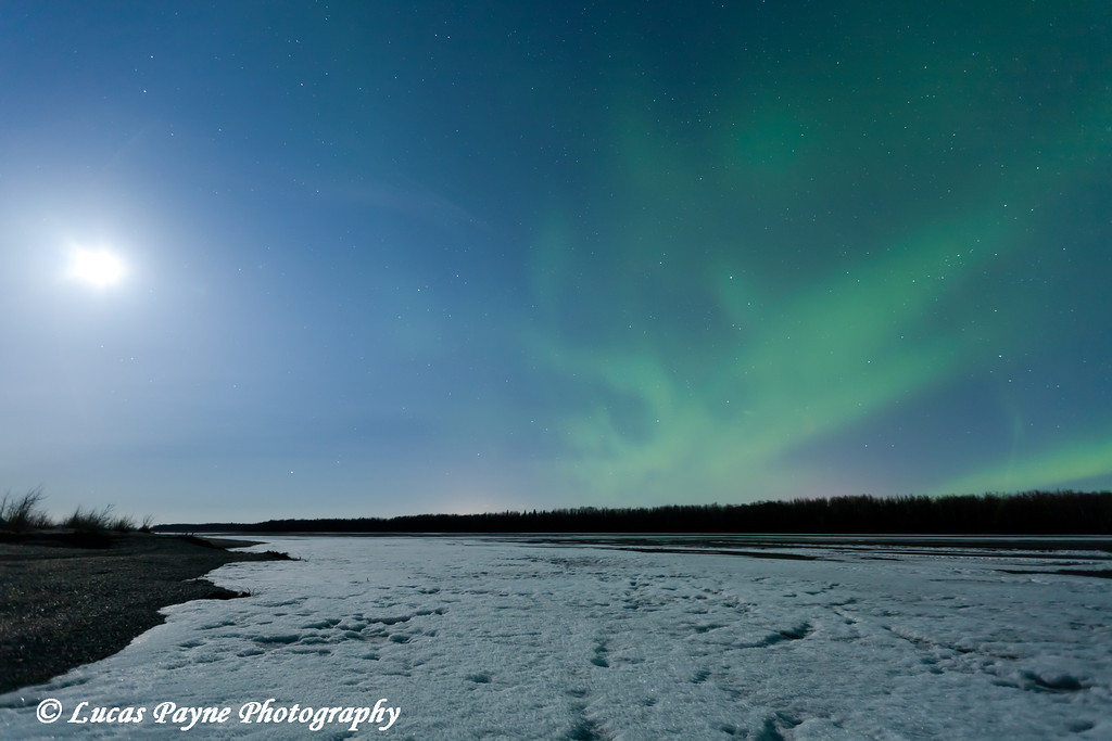 Green Northern Lights and moon over the Chugach Mountains and the Knik River Valley in Southcentral Alaska<br /> April 13, 2011