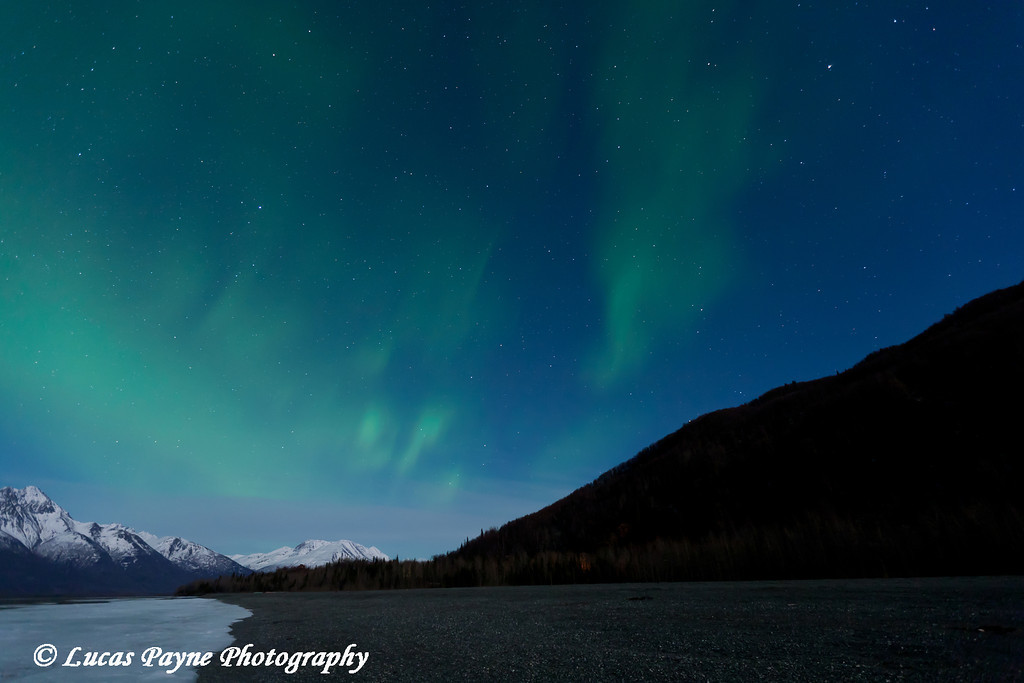 Green Northern Lights Over the Chugach Mountains and the Knik River Valley in Southcentral Alaska<br /> April 13, 2011