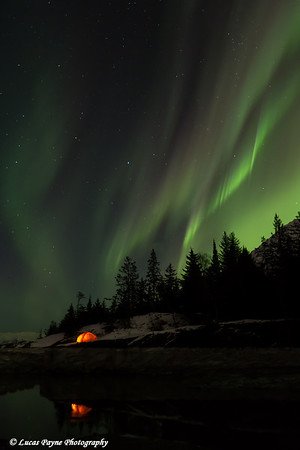 View of the Aurora Borealis (Northern Lights) dancing above the Kenai Mountains with a backpacking tent reflecting in the waters of Turnagain Arm, Kenai Peninsula, Alaska<br /> <br /> March 17, 2013