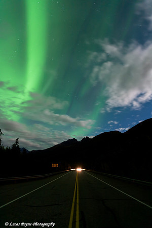 Aurora Borealis (Northern Lights) over the Chugach Mountains and the Old Glenn Highway<br /> September 09, 2011