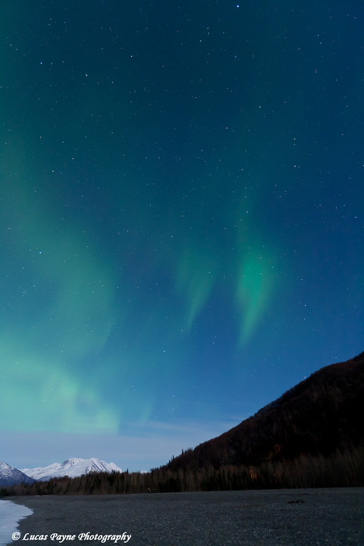 Green Northern Lights Over the Chugach Mountains from the Knik River Valley in Southcentral Alaska<br /> April 13, 2011