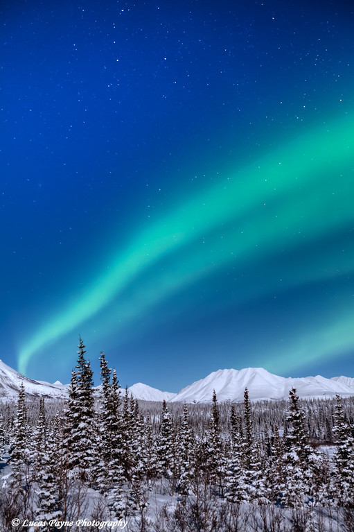 Aurora Borealis (Northern Lights) over The Alaska Range at Broad Pass, Alaska.  <br /> February 18, 2011