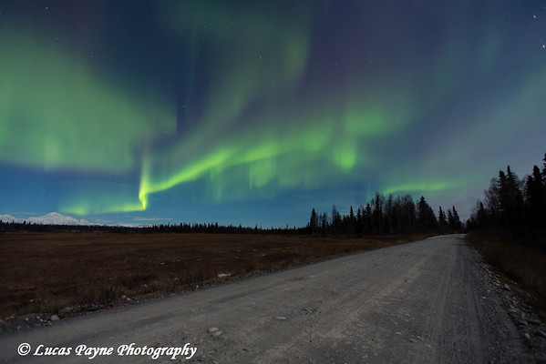 View of green Northern Lights dancing in the sky above Mt. McKinley and the Petersville Road, Southcentral Alaska<br /> <br /> November 01, 2012