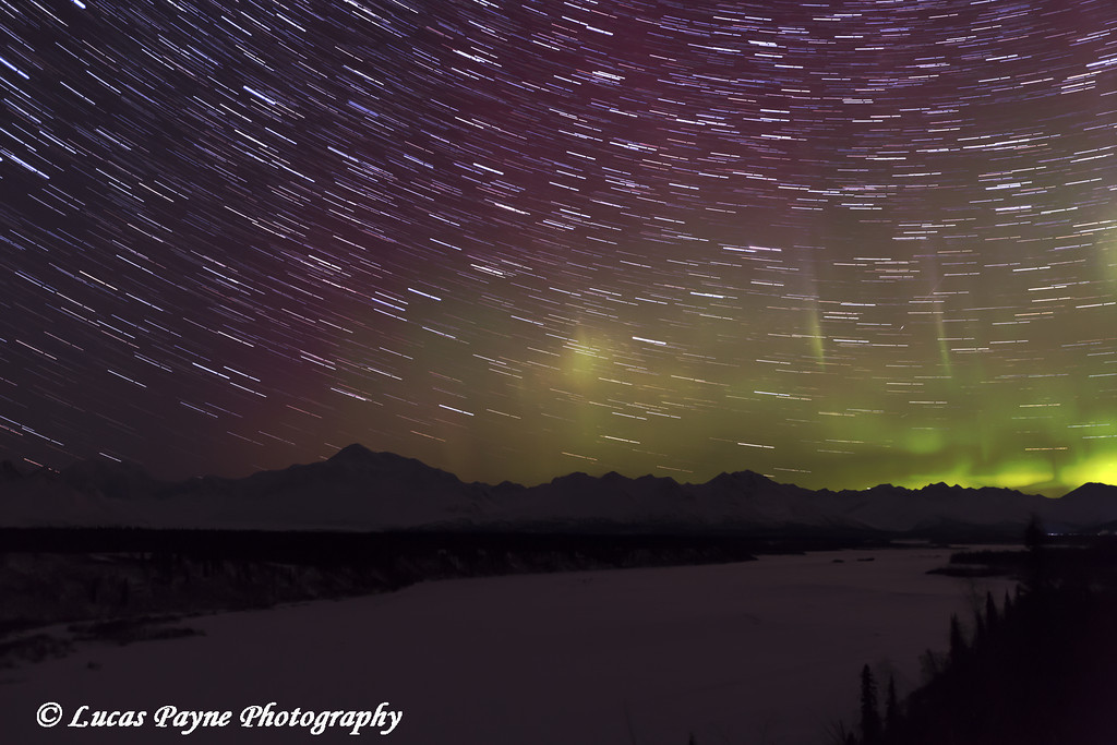 Star Trails and Northern Lights above Denali (Mt. McKinley) and the Chulitna River from Denali Viewpoint South along the Parks Highway, Denali State Park, Southcentral Alaska<br /> <br /> March 14, 2013